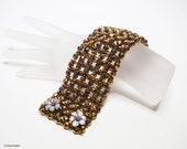 Woven Bronze Beaded Cuff, Wide