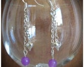 Beautiful Silver Hook Earrings with Facetted Purple Jade & Silver Heart