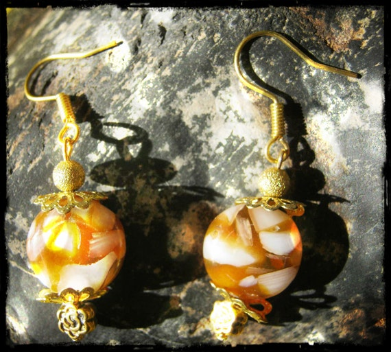Handmade Gold Hook Earrings with Harlequin Agate Coins & Rose by IreneDesign2011