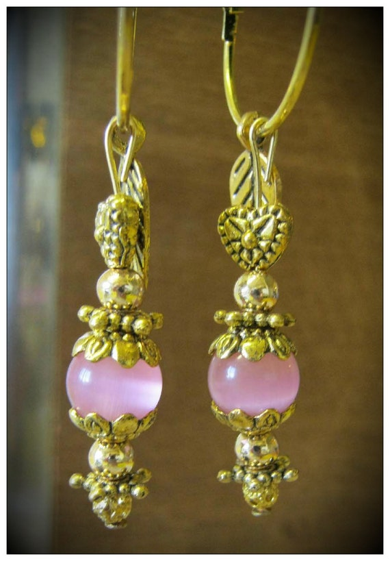 Handmade Gold Hoop Earrings with Pink Cat Eye, Heart & Leaf by IreneDesign2011