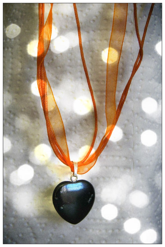 Handmade Orange Silk Necklace with Agate Heart by IreneDesign2011