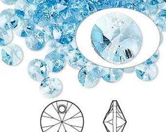 Swarovski Crystal Beads, 144 PCS, Swarovski rivoli Pendant, 8mm Swarovski Beads, 6200, 6428 Swarovski, Aquamarine Crystal, Vintage Swarovski