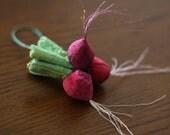 Radish -  Embroidered Plush Veggies - handmade, decorative, gift, red, vegetable, veggie, centerpiece, toy, collectible