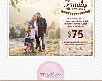 Family Mini Session Photoshop Template for Photographer - Photography Marketing Material - INSTANT DOWNLOAD - MS005