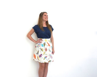 Umbrella print skirt with high waist and pleats, cotton skirt, kitsch rainy day skirt, bright patterned skirt, unusual skirt, colorful skirt