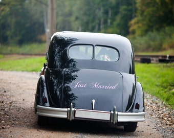"""Vinyl Decals Just Married Sign, Vinyl Decal for the Car, Wedding Decal for Vehicle 6"""" x 24"""""""