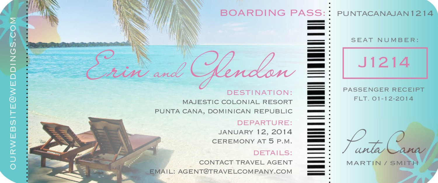 Boarding Pass Ticket Invitation for Destination Wedding