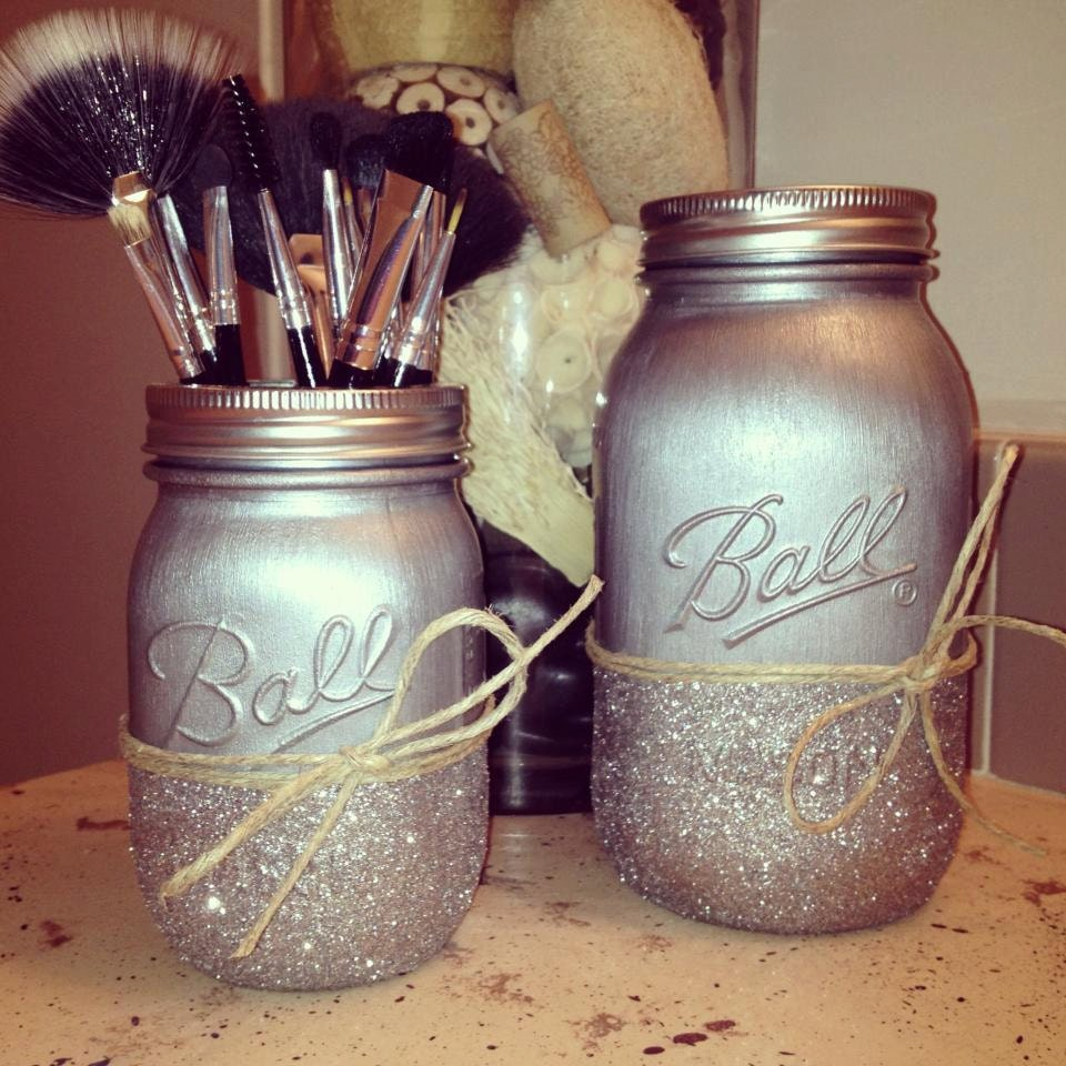 Diy Mason Jar Design Decorating Ideas: Painted Mason Jars Home Decor Rustic Home Decor By