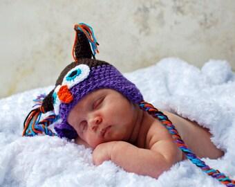 Newborn Owl Hat, Crochet Purple and Brown Owl Hat, Kids Owl Hat, Toddler Owl Hat, Newborn Photo Prop, Crochet, Baby Shower Gift