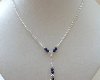 Lariat silver hamsa lapis lazuli necklace, Hamsa necklace, Lariat necklace, Hamsa hand necklace, Amulet necklace, Good luck necklace