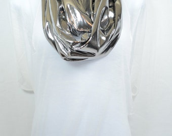 Liquid Foil Silver Infinity Scarf - Handmade - Original - Great for Holidays, Casual or Office Wear - Easy Care