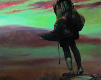 EAGLE CATCHER - native american, indian, warrior, spiritual, eagle, Sioux, Edward Curtis, sunset, spiritual