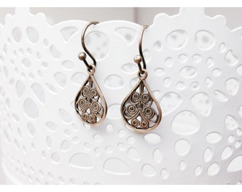 Kimmy - sweet, feminine teardrop filigree earrings in a tiny spiral cutout design.