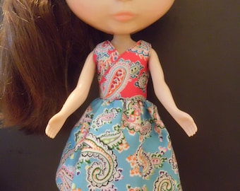 Blythe Doll Outfit Cloth Colorful Print Dress (A)