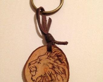 Wooden Lion Keychain
