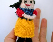 Snow White Finger Puppet, Fairy Tale & Fantasy Miniature Doll, hand-knit