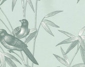 Blue and White Asian Inspired Modern Toile Wallpaper - Birds on Bamboo Branch - Japanese, Oriental Decor, Botanical - BY THE YARD - BF26839