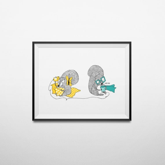 I Miss You Art Print A4 or A3 - Squirrel Illustration - Wall Decor - Friendship Gift - Illustrated Art Poster - Friendship Art Wall Decor