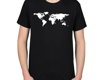 World Map t-shirt, Gift for Traveller, Geography Shirt, Atlas Graphic Tee