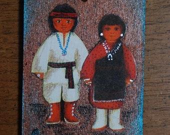 Pueblo Boy & Girl Southwestern Wood Ornament