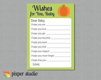 INSTANT DOWNLOAD - Baby Shower Wishes - Little Pumpkin - Lil Pumpkin