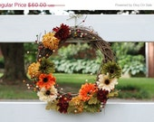 SALE: Fall Wreath - Daisies - Autumn Wreath - 14 inch Wreath - Grapevine Wreath - Thanksgiving Wreath - Wreath for Door - HomeKissed