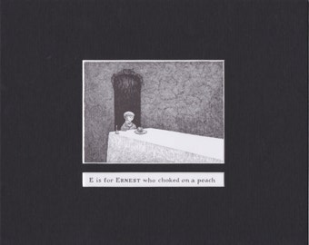 Edward Gorey 'E is for Ernest'... Custom Matted Post Card