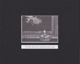 Edward Gorey 'L is for Leo'... Custom Matted Post Card