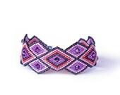 Chic Amethyst, Fashionable, One of a kind,  Rhombus, Purple, Geometric, Peyote Bracelet, Swarovski Crystal, Handwoven
