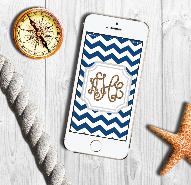 Phone Wallpaper Monogram: Items Similar To Nautical Chevron Monogram IPhone