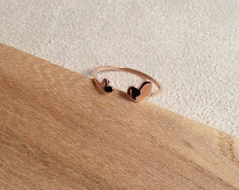 14K Rose Gold Tiny Double Heart Ring