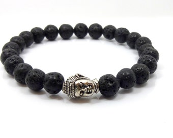 Stretch bracelet with black lava rock 8mm and buddha head