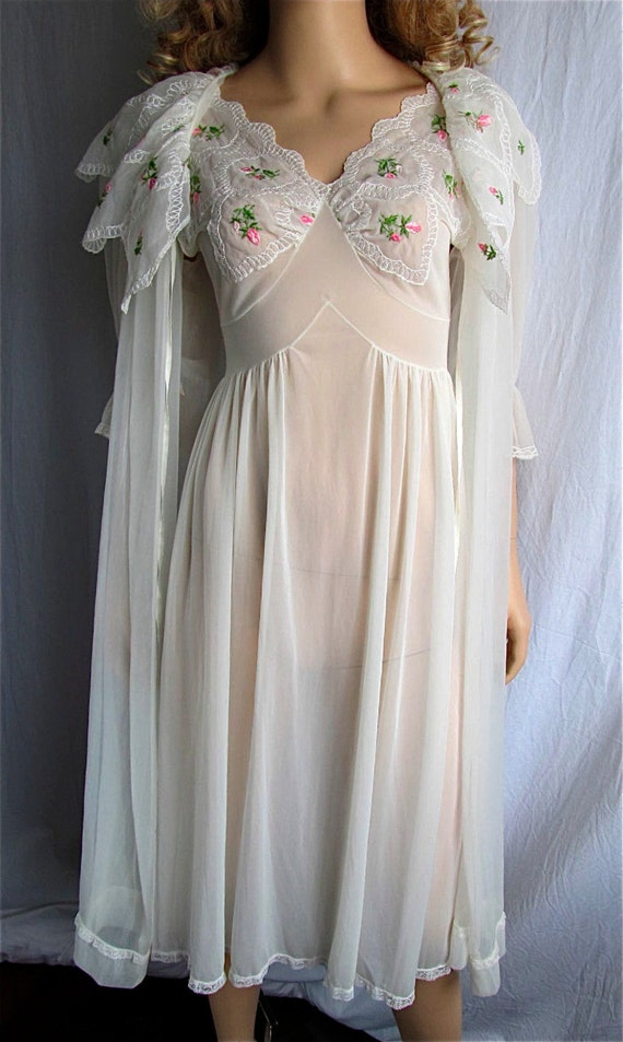 Vintage Peignoir Nightgown Set Xs Sm Bridal Lingerie Honeymoon