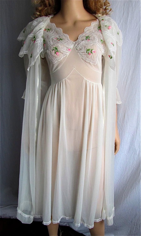 Vintage Peignoir Nightgown Set Xs Sm Bridal Lingerie Honeymoon
