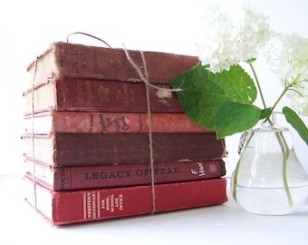 Fabulous Red Vintage Book Collection FREE SHIPPING