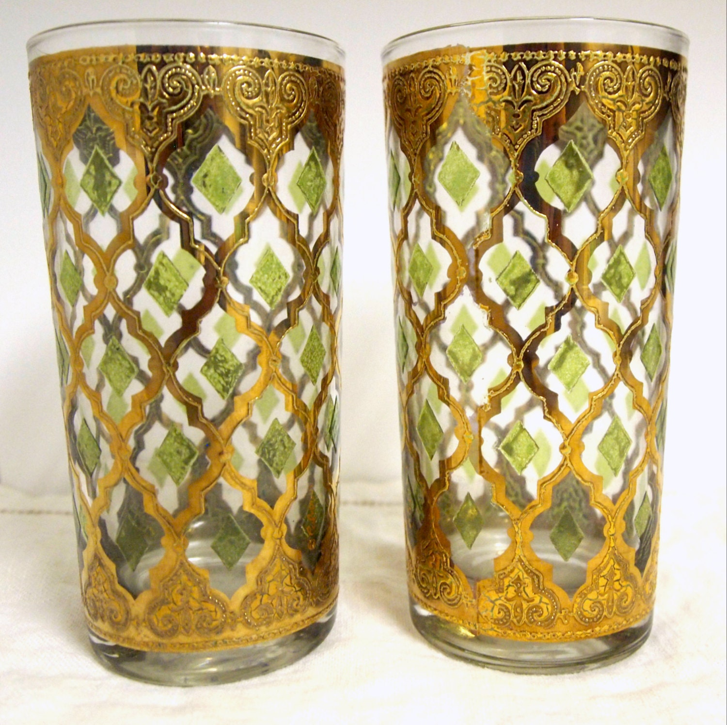 Culver Glass Tumblers Gold And Green Glass Tumblers Gold