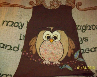 Custom Handmade Girls OWL Appliqued A Line Jumper Dress Choose Fabrics, Colors and Size Made to Order