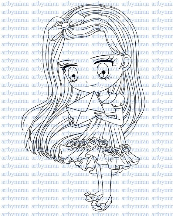 Digital Digi Stamps - Happy Mail, Coloring Page, Coloring for Children,  Instant Download Digi Stamp, Line Art for Card