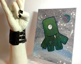 Nursery wall art, whimsical wall art, Acrylic painting Happy Monster in Outher space wall decor art