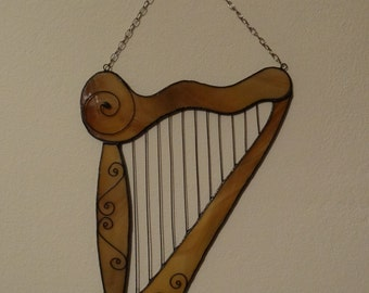 Harp Tiffany Style Stained Glass Suncatcher