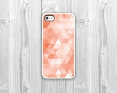 Geometric iPhone Case - iPhone 4, iPhone 4s, iPhone 5 cover - Coral Aqua Blue Triangles Geometric Protective Cell Phone Case - CasesBySamantha