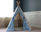 Pre-Designed Blue Triangles with Navy Trim Teepee