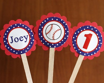 Baseball party decorations (12) cupcake toppers in Red and Blue