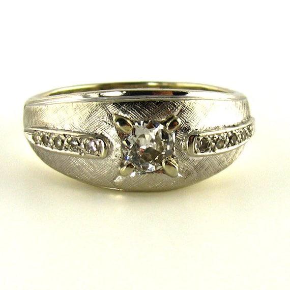 Vintage mens wedding ring diamond ring by beutifulantiqjewelry for Mens vintage wedding ring
