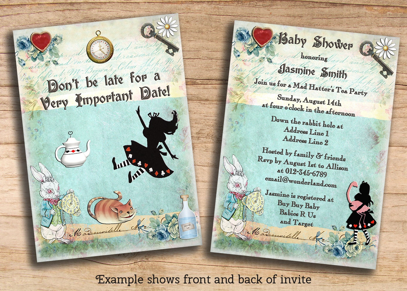 Alice In Wonderland Baby Shower / Birthday by MollySkyInvitations