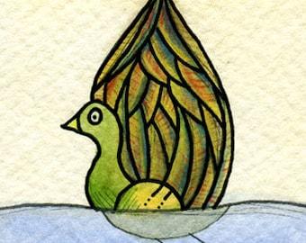 ACEO - Original Watercolor Illustration - Duck
