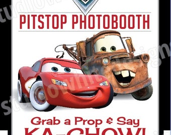 Custom Printable Disney Pixar Cars Inspired Birthday Photo Booth Sign 8.5x11""