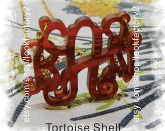 Monogram Necklace (Acrylic Monogram 3 Initial Custom Jewelry ) - Beautiful Personalized Gift , Monogram Wedding Gift