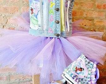 Princess Tiana VEST, TUTU & CHUCKS, Disney, Birthday Outfit, Custom Chucks, pageants, First Birthday Outfit, Girls Clothes, Birthday Tutu