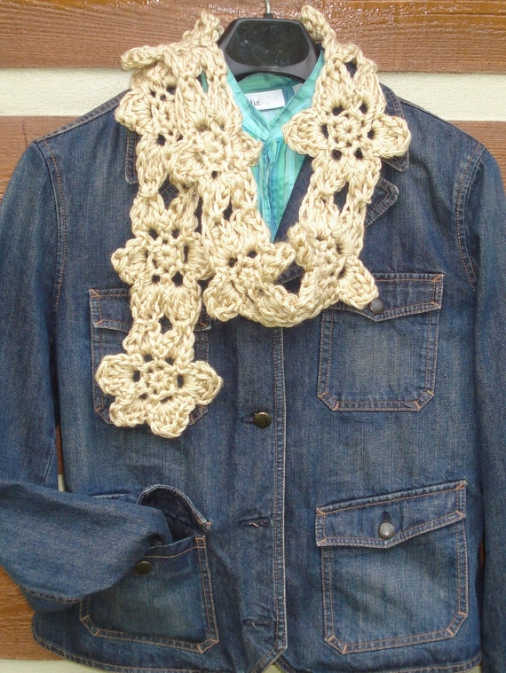 Boho Crochet Patterns : Items similar to Boho Flower Scarf Crochet Pattern on Etsy